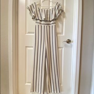 ASOS Privy Stripe Jumpsuit Cream Black Size Small